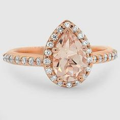 14K Rose Gold Sapphire Fancy halo Diamond Ring with Side Stones // Set with a 9.x5mm Pear Morganite (From Unique Colored Gemstone Gallery) #BrilliantEarth