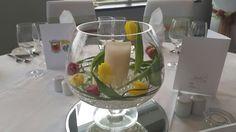 GAA theme wedding. Kerry v Mayo. Red and yellow tulips in fishbowls  WWW.JACKSCROMANE.COM Yellow Tulips, Our Wedding, Table Decorations, Weddings, Red, Home Decor, Mariage, Wedding, Interior Design