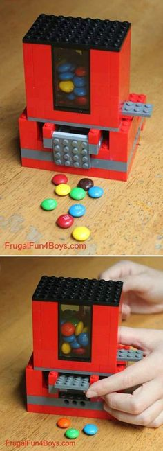 For your lego loving kids here is great thing to built Make a candy dispenser … hmm . yum Tutorial here: Lego Candy Dispenser Projects For Kids, Diy For Kids, Craft Projects, Craft Ideas, Diy Ideas, Project Ideas, Decor Ideas, Easy Diy Crafts, Kids Crafts