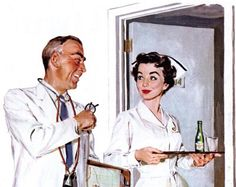 'Doctors and nurses recommend Canada Dry ginger ale' - vintage magazine ad, illustrated by Joe De Mers.