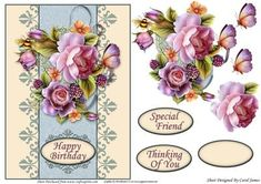 Card Front English Roses 2 on Craftsuprint designed by Carol James - A cardfront with some decoupage pieces for that 3d effect. Can be used for lots of different occasions like Birthdays, Mother's Day, Best Wishes, Anniversaries, Thinking of You, Thanks, etc. 3 sentiment tags and one blank tag are included. Sentiments read:Happy BirthdaySpecial FriendThinking Of You - Now available for download!