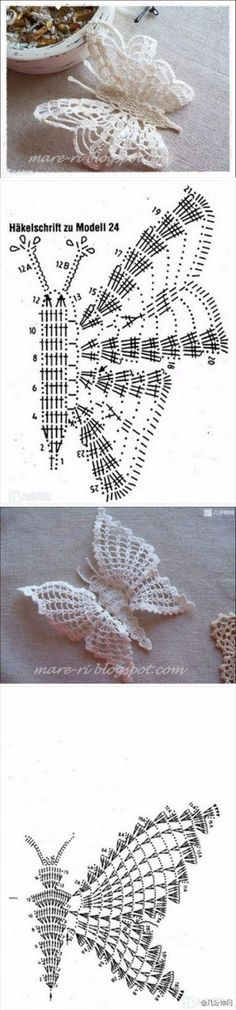 With over 50 free crochet butterfly patterns to make you will never be bored again! Get your hooks out and let& crochet some butterflies! Crochet Diy, Filet Crochet, Crochet Diagram, Crochet Chart, Thread Crochet, Love Crochet, Irish Crochet, Beautiful Crochet, Crochet Woman