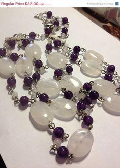 ON SALE HDNY Amethyst Rose Quartz Necklace 53 Grams by BargainBitz, $31.50