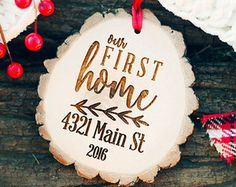 Our First Home Ornament Rustic Our First Home by WeddingBannerLove