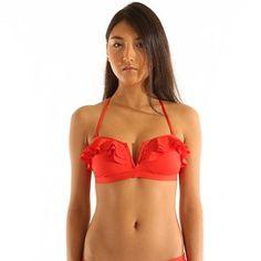 Haut de maillot de bain rouge avec vollants, bustier. PIMKIE, 12,99 euros
