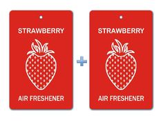 Strawberry Air Freshener Paper Hanging Bar (Pack of 2)/ Car-Home-Office Ecofriendly Pocket Deodorizer