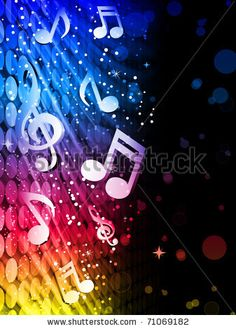 71069182 : Vector - Party Abstract Colorful Waves on Black Background with Music Notes