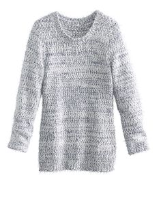 Pull maille poilue chinée