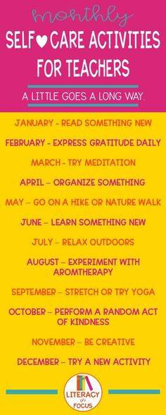 A different self-care strategy for each month of the year. Twelve different easy to implement self-care strategies for teachers. Wellness Activities, Self Care Activities, Mindfulness For Teachers, New Teachers, Teachers Toolbox, Preschool Teachers, Education Humor, Teacher Education, Elementary Education