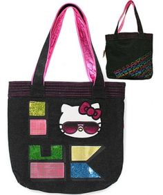 "HELLO KITTY 90'S TOTE  $65.00  HELLO KITTY 90'S LAYERED APPLIQUE FAUX LEATHER AND BLACK DENIM TOTE BAG WITH EMBROIDERY. INTERIOR ZIP POCKET. INSIDE CELL PHONE AND WALLET POUCH. BLACK SATIN LINING. 16""X 14.5""."