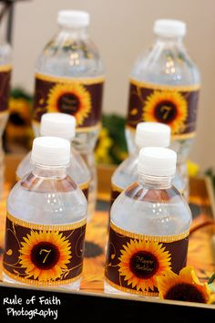 SUNFLOWER *Birthday Party* MINI COLLECTION - includes Banner, Buffet Labels, Water Wraps & Favor Tags.