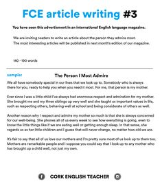 A Healthy Mind In A Healthy Body Essay Fce Exam Writing Samples  The Person I Most Admire The Newspaper Essay also General Essay Topics In English Fce Exam Essay Examples  Ingles  Pinterest  Essay Examples  Sample Of English Essay