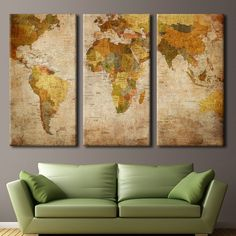 3 panel vintage world map canvas painting oil painting print on world map multi panel canvas gumiabroncs Image collections