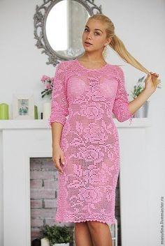 Летнее платье филейным узором. Схемы филейных роз для вязания | Я Хозяйка