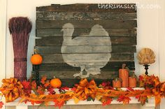 Thanksgiving Mantle Featuring Reclaimed Lumber Turkey Silhouette