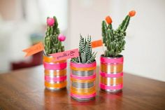 Upcycle Tin Can - DIY cactus neon modern favors seating flag Neon Cactus, Mini Cactus, Tin Can Crafts, Arts And Crafts, Diy Crafts, Recycled Crafts, Cactus Wedding, Diy Wedding, Wedding Favors