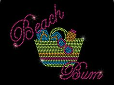 Beach Bum Beach Bag Rhinestone Bling Heat Iron On Transfer