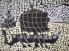 Inspiration: Black and white ship mosaics from Ancient Rome . These grade 7s were studying the ancient world as well as learning Italian ...
