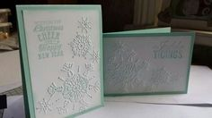Northern Flurry Embossing Folder, Stampin' Up! Pool Party, quick and simple Christmas card idea xx