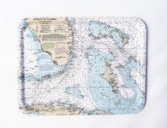 Florida and Bahamas Nautical TV tray 17x13 by Trays4us on Etsy