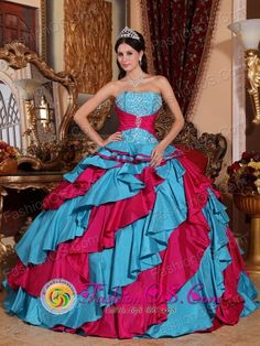 Autumn Embroidery Decorate With Discount Wholesale Aqua Blue and Red Quinceanera ball gown In Ciudad del Este Paraguay Style QDZY389FOR