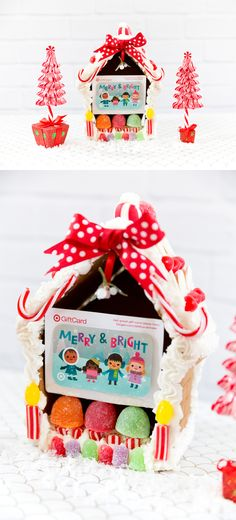 Create a gingerbread house to give a gift card, cute + creative way to give a gift card for Christmas holidays! #GiftCardCheer #TargetHolidayGiftCard