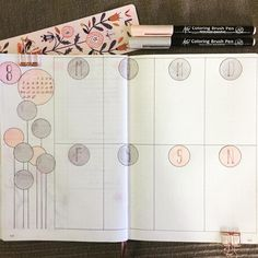 Bullet journal weekly layout, circle drawings. | @coco5005bujo