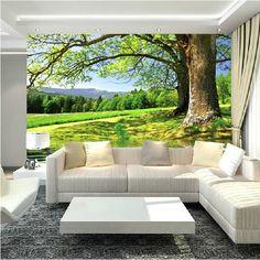HOT SALE Large 3D Mural Wallpaper Big Trees By River Scenery Videowall  Living Room Sofa,