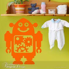 Happy Robot Wall Decal - Baby Nursery Art, Kids Bedroom Decor, Geekery Robot Party Decoration, Clockwork Gears, Tangerine