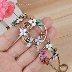 Trendy Vintage Dragonfly ladybug Beetle Flower Rhinestone Toggle Bracelet