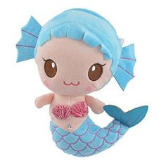 Blue Mermaid Plush Doll Barbie, Mermaid Dolls, Plush Dolls, Little Girls, Hello Kitty, Blue, Stuffed Animals, Daughters, Fictional Characters
