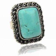 Classic Rectangle Shaped Turquoise Blue Adjustable Size Ring