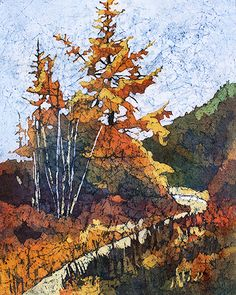 Fall Larches  Watercolor on rice paper (batik) by Krista Hasson