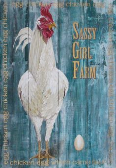 chicken original painting on solid reclaimed by johnandgigiathome
