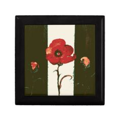 Halftone Red Painted Poppy & Buds Jewelry Box