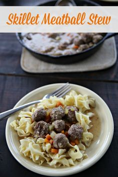This skillet meatball stew is almost a one pot dish- you could easily swap the egg noodles for potatoes and keep it all in one skillet.  Love the cast iron cooking to add some extra iron!!