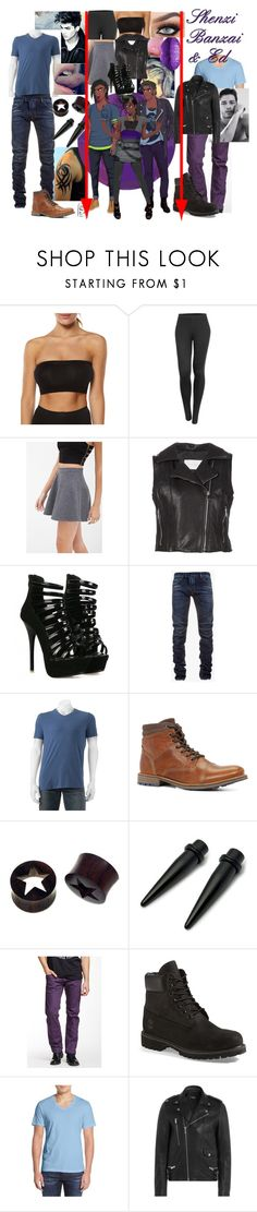 """Disney Gone College - SHENZI BANZAI & ED"" by blackest-raven ❤ liked on Polyvore featuring Betty Basics, LE3NO, Forever 21, STRATEAS.CARLUCCI, ADAM, Balmain, Urban Pipeline, ALDO, NOVICA and Diesel"