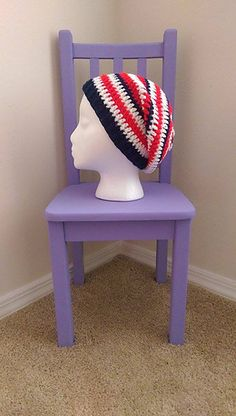 Stars and Stripes Slouchy Beanie free crochet pattern - The Lavender Chair