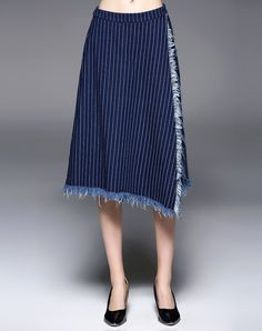 #AdoreWe #VIPme Pants & Denims - QinPei.er Blue Stripes Cotton Casual Frayed Culottes Pant - AdoreWe.com