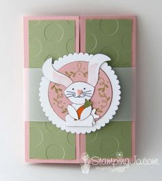 stamped Easter card, Gate fold card, Stampin Up: Foxy Friends, Suite Sentiments, Designer Tin of Cards stamp set