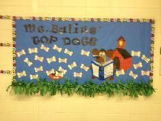 First bulletin board. Kindergarten Classroom Decor, New Classroom, Classroom Design, Classroom Themes, Dog Bulletin Board, Reading Bulletin Boards, Teacher Door Decorations, Dog Classes, Puppy Room