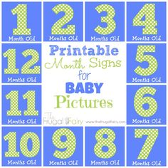 #Printable Monthly Signs for Baby Pictures, Milestone Pictures