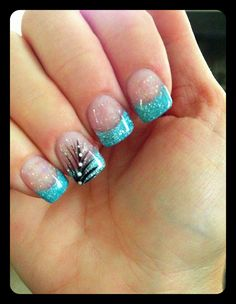 Turquoise tips with glitter and design