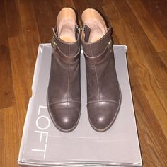 "SALELOFT Brown Leather Ankle Strap Bootie LOFT Brown Leather Ankle Strap Mid Heel Bootie. Size 9. Real leather. Worn twice. Heel height is 3"". No low balls. Selling only. FINAL SALE LOFT Shoes Ankle Boots & Booties"