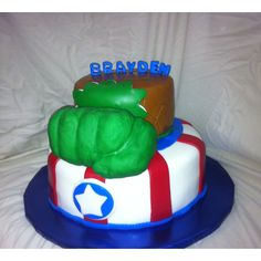 Captain America and Hulk Cake--perfect for gage! his 2 favorite super heroes!