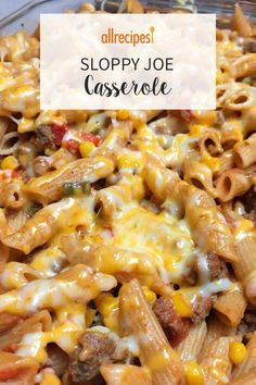 "Sloppy Joe Casserole Recipe Sloppy Joe Casserole ""This is a great comfort food recipe that I enjoy making on a cold winter day. It's also a hit at our church's Potluck dinners. Crock Pot Recipes, Easy Casserole Recipes, Cooking Recipes, Thai Recipes, Asian Recipes, Mexican Food Recipes, Kraft Recipes, Casserole Ideas, Chicken Recipes"