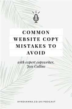 Expert copywriter, Jess Collins, shares her knowledge on what makes good website copy and what mistakes you can easily avoid #copywriting #copywritingtips #websitecopy #websitecopywriting Words To Use, Copywriter, Business Website, Blog Tips, Creative Business, About Me Blog, Mistakes, Content Marketing, Blogging