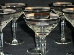 Dorothy Thorpe Style Silver Band Cocktail Glasses Mid Century Modern Set of 6