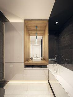 Bellissimo bagno in marmo bianco e nero - casa moderna