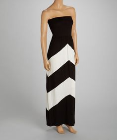 This Black & White Chevron Strapless Dress by J-MODE is perfect! #zulilyfinds